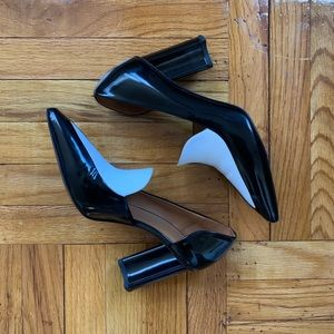 Robert Clergerie Black White Leather Pointed Toe